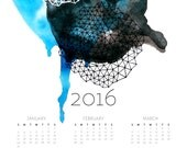 Geometric Abstract Watercolor Wall Calendar 2016 in indigo and graphite