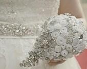 Stunning Teardrop Button & Brooch Wedding Bouquet Keepsake Heirloom