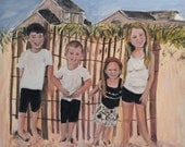 In Progress  Their Four Kids and Their Beach Memory Origianl Oil PAinting by Marlene Kurland  24 x 30