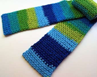 Linen Weave Scarf- Blue and Green Colorblock Linen Stitch Scarf
