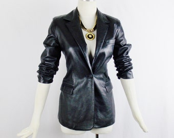 GIANNI VERSACE Vintage TAILORED Leather Black Jacket One button Closure Skinny Fit Size 38