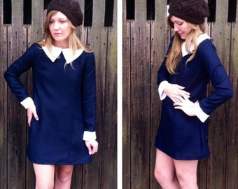 Peter Pan Collar Shift Dress /// Suzy Bishop /// Wednesday Addams Halloween Costume ///