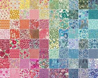 100 Liberty Tana Lawn fabric 2.5'' Patchwork Mini Charm Squares - RAINBOW - all different, as shown in the photo