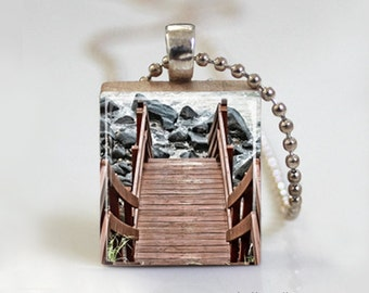 Scrabble Pendant, Bridge Over Water, Scrabble Tile Jewelry, Scrabble Tile Pendant - Free Ball Chain Necklace or Key Ring
