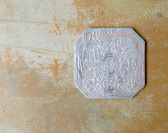 Vintage Hot Pad, Silver Pink Embossed Trivet, Shabby Chic Mid Century 1960s Dining Serving Decor