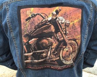 SALE - Harley Davidson Vintage denim jacket- upcycled patch vtg t-shirt -OOAK! Trucker Jacket Biker Moto