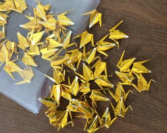 100 Mini Gold Origami Cranes