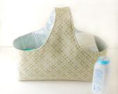 Fabric Storage Basket - Diaper Caddy -  Green Diaper Storage - Geometric Diaper Caddy - Nursery Decor - Green Fabric Basket