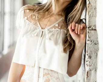 Bed Jacket Top Robe Tee / White Ivory Hearts Bow / JANUS Bed Jacket - Alabaster
