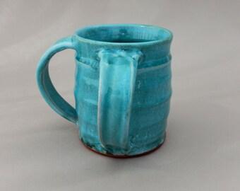 Turquoise Pottery Washing Cup -  Judaica Ceramic Negel Vasser