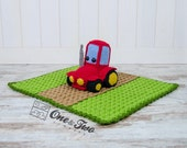 Gus the Tractor Lovey / Security Blanket - PDF Crochet Pattern - Instant Download - Blankie Baby Blanket