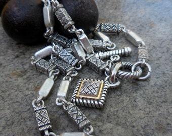 Vintage Brutalist Modernist Pewter and Brass Link Necklace