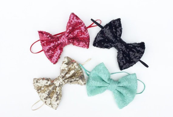 NEW MINI GLAM Bow Headbands & Clips- All Ages - skinny elastic/headband / adult / summer/ Spring baby child girl newborn child sparkle