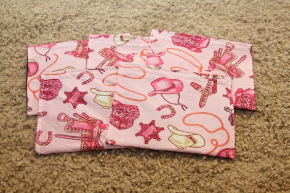 FIVE Cloth Napkins--Kid Size--Pink Cowgirl