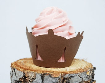 Autumn Acorn Cupcake Wrappers In Your Choice of Color Qty 12 By Your Little Cupcake