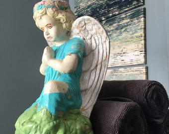 Vintage Garden Angel chippy paint angel statue gardening angel child vintage whimsy garden decor aged angel statue distressed angel figure