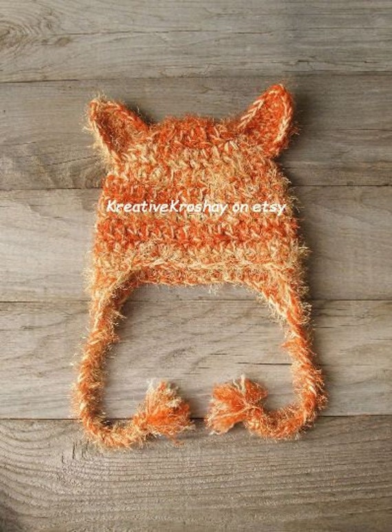 Soft 'n Furry Orange Tabby Kitty Cat Hat with Earflaps & Braids - 0-3 / 3-6 / 6-12 month sizes