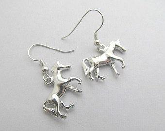 Horse Dangle Hoop Earrings