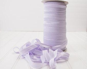 "Lilac Mist #410 FOE 5/8"" inch Light Purple/Lavender Fold Over Elastic 5 yds  Shiny Baby Headbands Hair Ties Satin Soft Elastic"