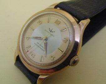 Mens Anker 25 Jewel Rotor Automatic Gold Plate Bezel leather strap.
