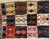 FREE SHIPPING WORLDWIDE L22140 vintage boucherouite rug, moroccan rugs , rag rug, berber tribal art, morocco carpets, wall art
