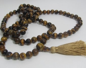 Ready to ship mala necklace - 8mm Tiger eye 108 beads buddhist mala - brown mala - Tassel necklace for yoga - Earth and sun
