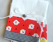 Kitchen towels with chickens and hen country kitchen cotton fabric - set of two flour sack towels