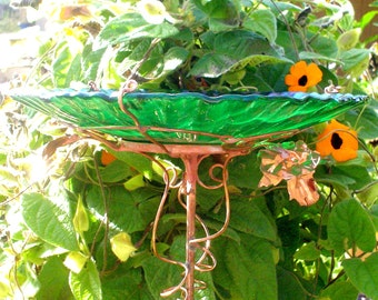 "BIRD BATH, Green stained glass, 8.25"" diameter, Iridescent Dragonflies, copper art, 14K gold, Garden decor, outdoors, Home and Living"