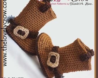 Cowboy Boots Crochet Pattern KIDS Sizes