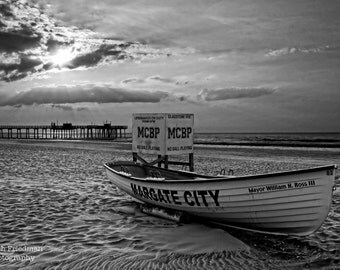 Margate Sunrise, New Jersey Shore, Black and White Photograph, Beach Decor, Margate Boat, Ocean, Fishing Pier, Morning, Summer, Print