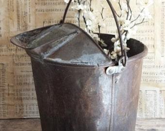 Primitive Antique Metal Milk Creamer Bucket, Strainer Sieve Milk Pail, Dairy Farm, Farmhouse Decor