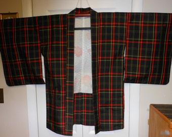 JAPANESE PLAID Stripe   Vintage unused Haori Jacket   Tsumugi weave  Black Brown  Red, Yellow and Green  measurements below