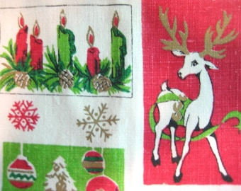 Vintage Cotton Linen Tea Towel, Retro Christmas Greetings, Deer with Antlers, Santa Claus, Christmas Tree Ornaments, Poinsettia Border