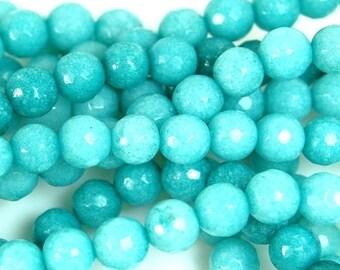 6mm Light Cyan Blue Agate Round  -15 inch strand