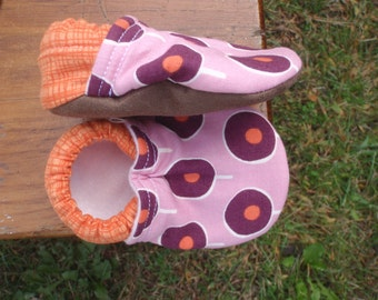 Baby Girl Shoes in Modern Lavender and Plum and Orange Print - Made to Order Sizes 0-24 months 2T-4T