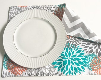 Table Placemats- Blooms and Chevron Available In Sets of 4 or 6, Indoor Outdoor Placemats