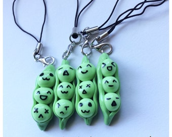 Peas in Pod Polymer Clay Phone Charm