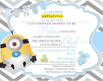 minions boy baby shower blue and gray baby shower card minions theme