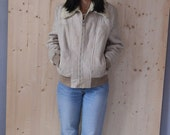 SALE Beige Real Leather Shearling Jacket VINTAGE 80s