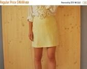 SALE Vintage 80s Yellow mini skirt   NAF NAF Pencil Skirt