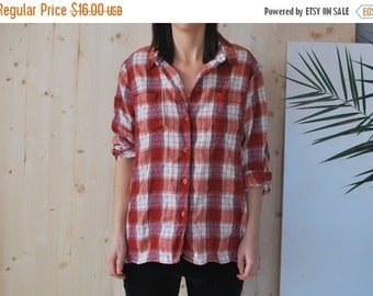SALE Checked Flannel Shirt Vintage 80's
