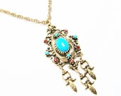 Vintage Bohemian Necklace signed Celebrity with Faux Turquoise and Faux Rubies