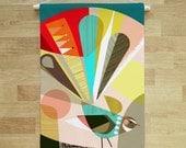Fantail, fabric, wall hanging, banner, Ellen Giggenbach