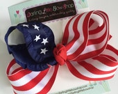 """Patriotic Hairbow - Stars and Stripes - July 4th hairbow, red and white stripes with navy blue star ribbon -- 5"""" hairbow"""