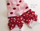 Christmas Leg Warmers -- Valentine Leg Warmers -- pink red and white striped and polka dot bows-