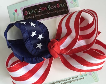 "Patriotic Hairbow - Stars and Stripes - July 4th hairbow, red and white stripes with navy blue star ribbon -- 5"" hairbow"