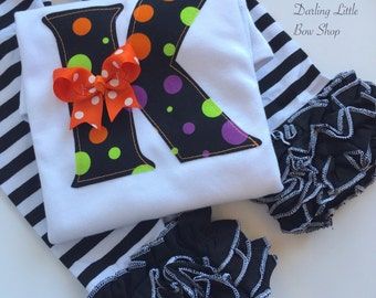 Baby Girl Halloween bodysuit or shirt -- bodysuit or shirt ONLY-- initial in black and orange jack-o-lanterns