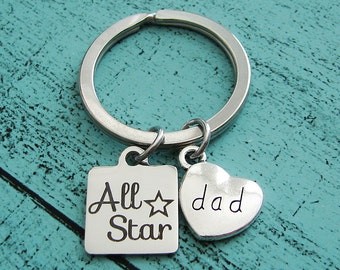 gift for dad, fathers day gift, all star dad gift, dad birthday gift, dad keychain, fathers day gift from kids, new dad gift, personalized