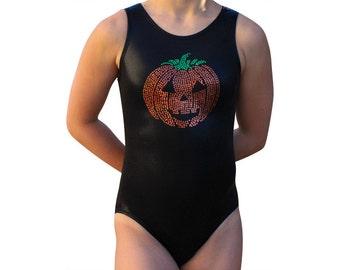 Gymnastics Leotard Girls  Halloween Fun SEQUINS Pumpkin FACE Leotard Gymnast Leotard cs cm cl axs as am al