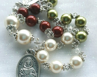 Chaplet of Saint Dymphna - Relic - Large Beads Saint Dymphna Rosary - Emotional & Anxiety Depression Prayer Rosary